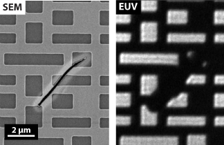 Comparison of SEM and AIT images of an EUV photomask.