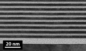 Transmission Electron Microscope (TEM) image of a multilayer fabricated by CXRO