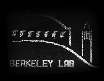 Far-field diffraction pattern from a binary phase-only EUV hologram revealing the LBNL logo.