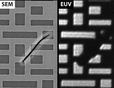 Comparison of SEM and AIT images of an EUV photomask